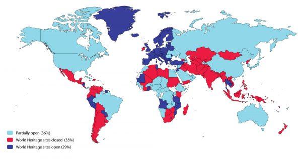 نظارت بر تعطیلی سایتهای میراث جهانی و معرفی نقشه جهانی در مورد بسته بودن سایت های میراث جهانی به دلیل Covid-19 و تجزیه و تحلیل.